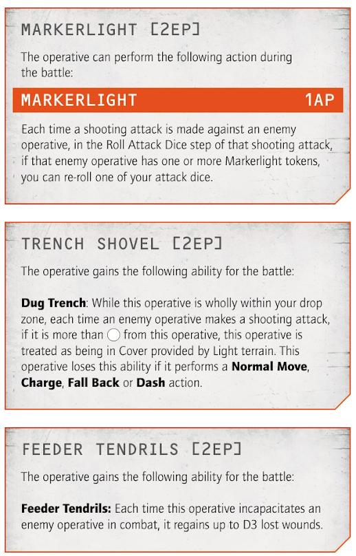 Armas y Equipo especial en Kill Team