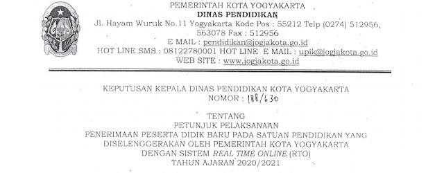 Jadwal Pendaftaran Persyaratan dan Juknis PPDB SD SMP SE Kota Yogyakarta Tahun Pelajaran 2020/2021