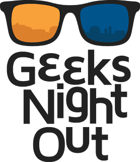 Geeks Night Out poster.  Text with geeky glasses