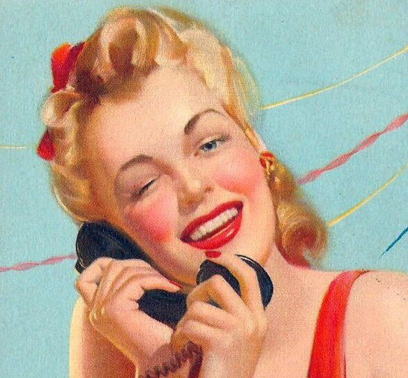 """Just Between Us""Vintage cigarette card 1948 Pin-up in red talks on the phone. An Exciting Offer and Other stories of Marketing the American Dream. marchmatron.com"