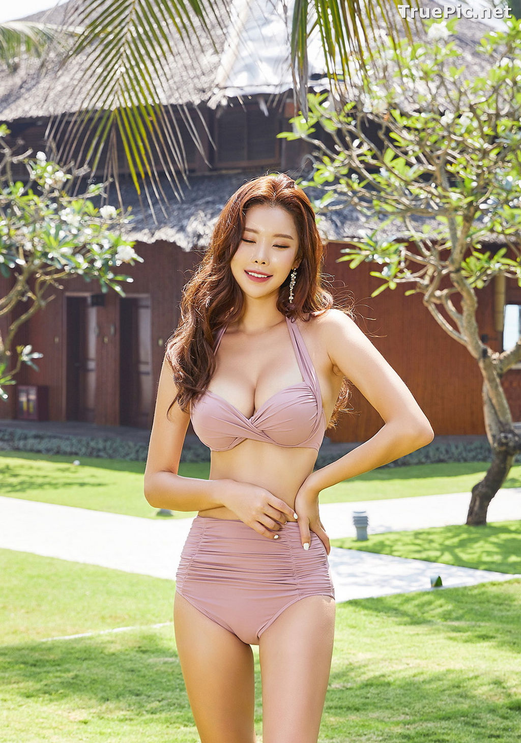 Image Park Da Hyun - Korean Fashion Model - Rose Mellow Pale Pink Bikini - TruePic.net - Picture-8