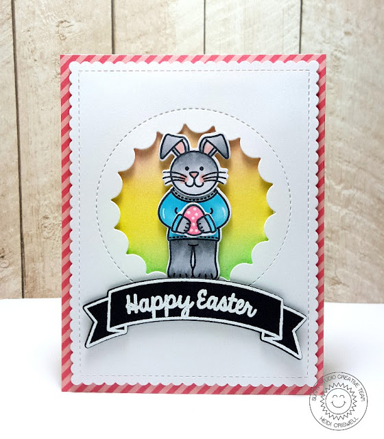 Sunny Studio: Easter Bunny Card by Heidi Criswell (using Sending My Love, A Good Egg & Sunny Borders stamps)