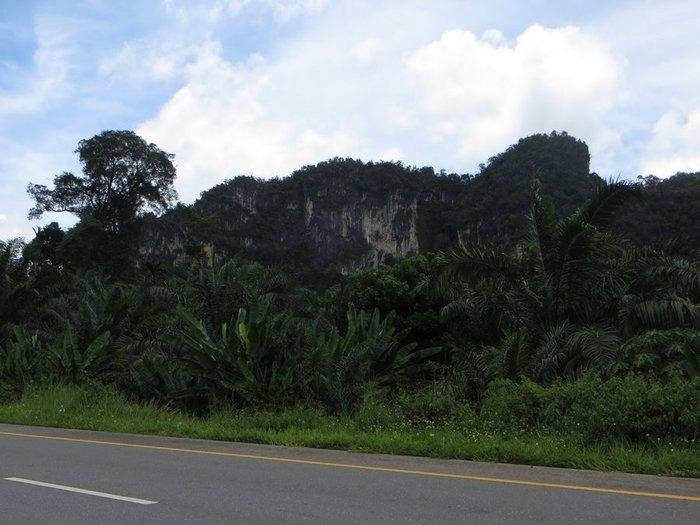 горы вдоль дороги