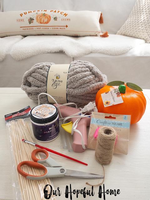 chunky yarn paint pot glue gun crafting supplies