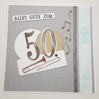 Posaunen-Geburtstagskarte mit selbstgemachtem Musik-Prägefolder-Hintergrund Stampin' Up! www.eris-kreativwerkstatt.blogspot.de