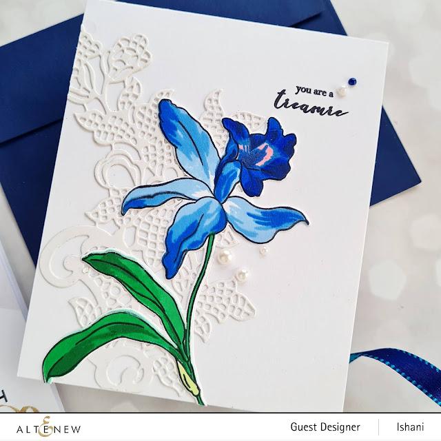 Altenew Laelia layering stamp, Build a flower stamp, Floral card, Orchid card, Blue Orchid, Altenew Lapis Lazuli dye inks, Quillish, Guest designer Ishani