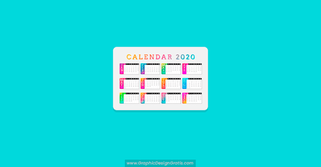 Calendario 2020 colorido en degradado gratis