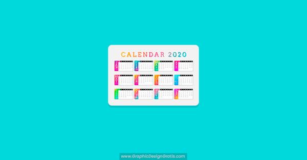 Calendario 2020 colorido en degradado gratis