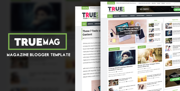 True Mag premium magazine blogger template