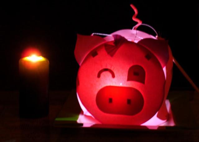 Cách làm lòng đèn sáng tạo bằng giấy làm con heo cực dễ