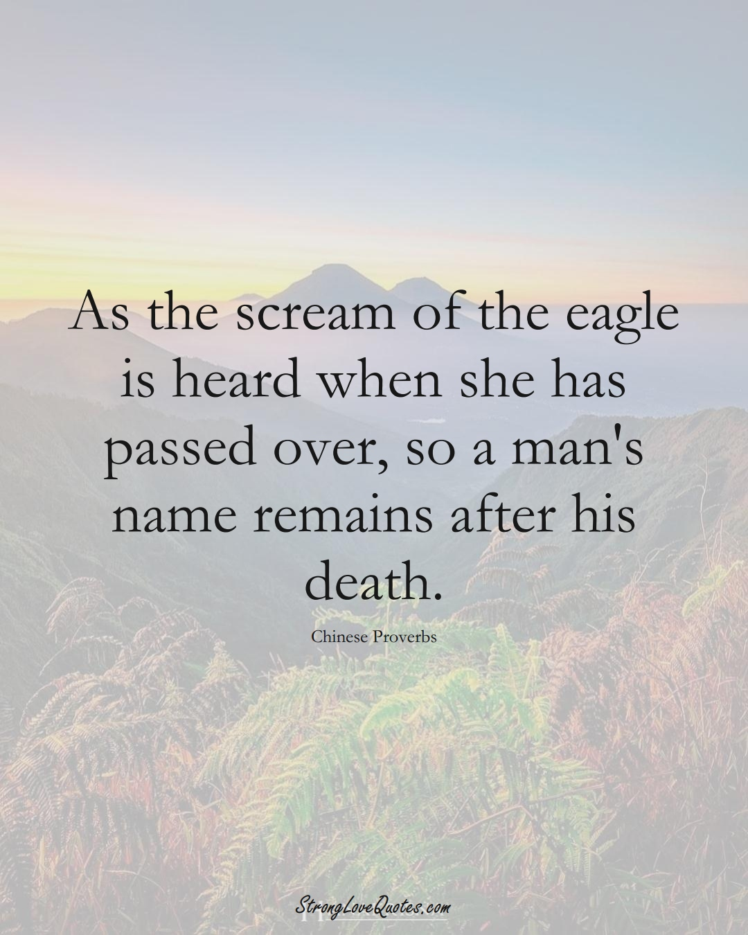 As the scream of the eagle is heard when she has passed over, so a man's name remains after his death. (Chinese Sayings);  #AsianSayings