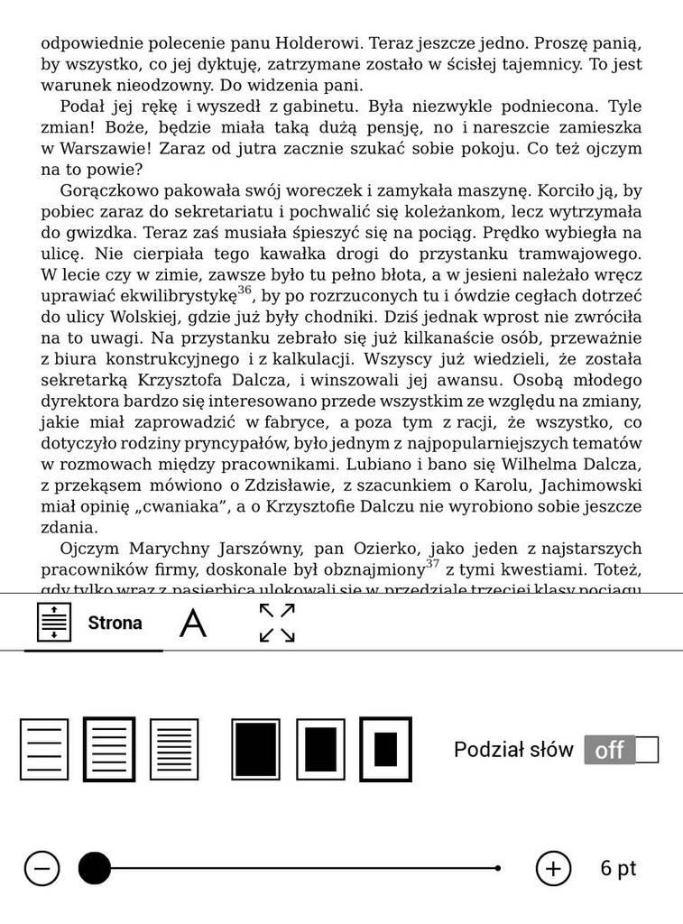 PocketBook Touch HD 3 – najmniejszy rozmiar czcionki