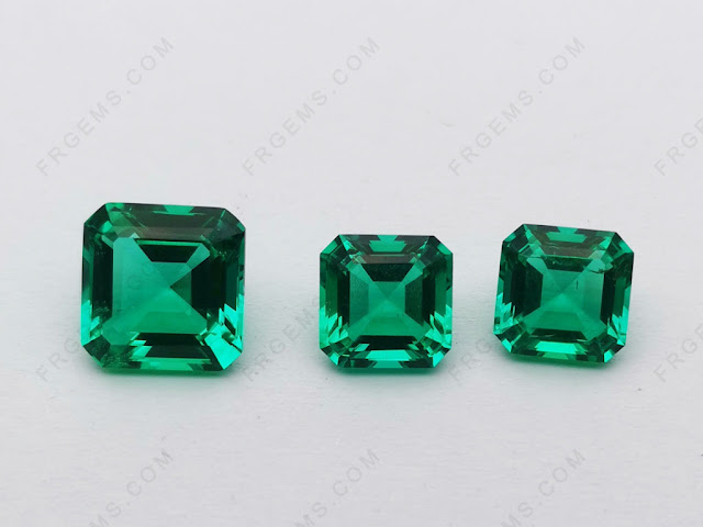 Hydrothermal-Lab-Emerald-Green-Columbia-Green-color-Asscher-cut-10x10mm-gemstones-China-Suppliers
