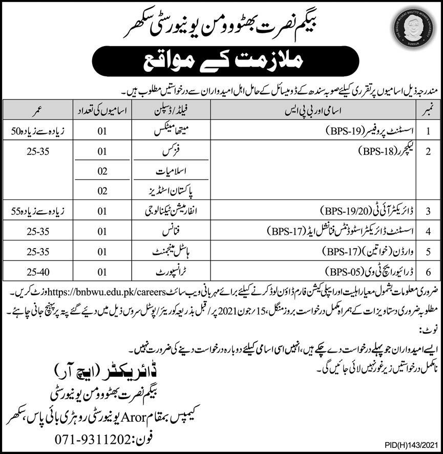 Begum Nusrat Bhutto Women University Jobs 2021 in Pakistan