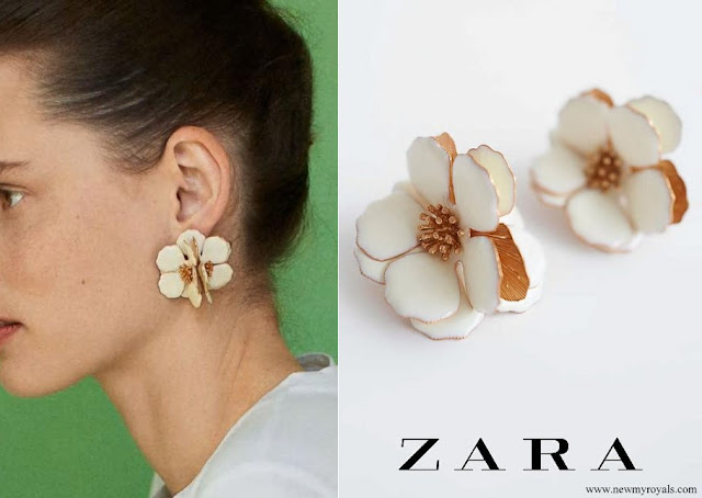 Queen Maxima wore Zara Floral Earrings