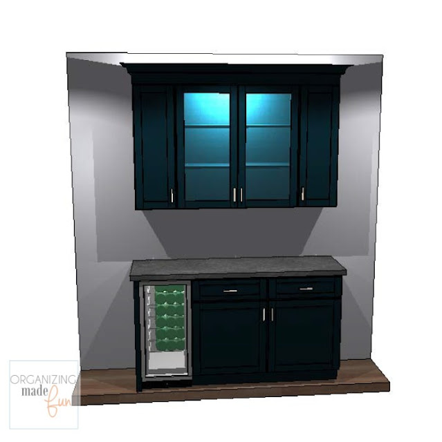 Sketch of coffee/wine bar with black cabinets :: OrganizingMadeFun.com