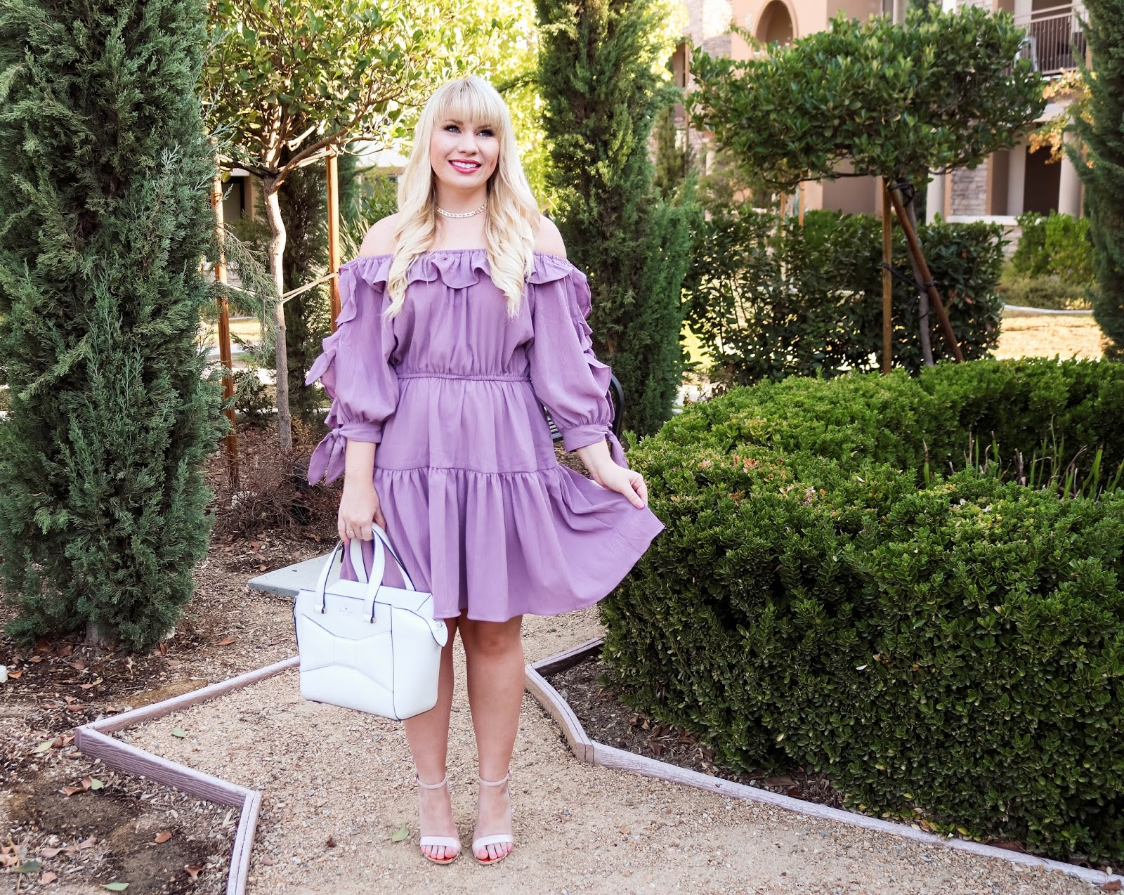 Lilac Off-the-shoulder Summer Dress