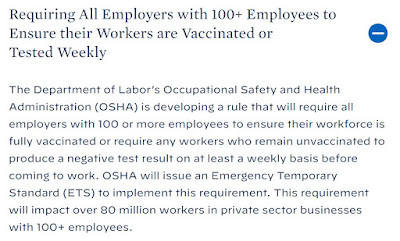 Coronavirus Update 9-11-21: Here is why the vaccination ETS that Biden has directed OSHA to issue is likely illegal