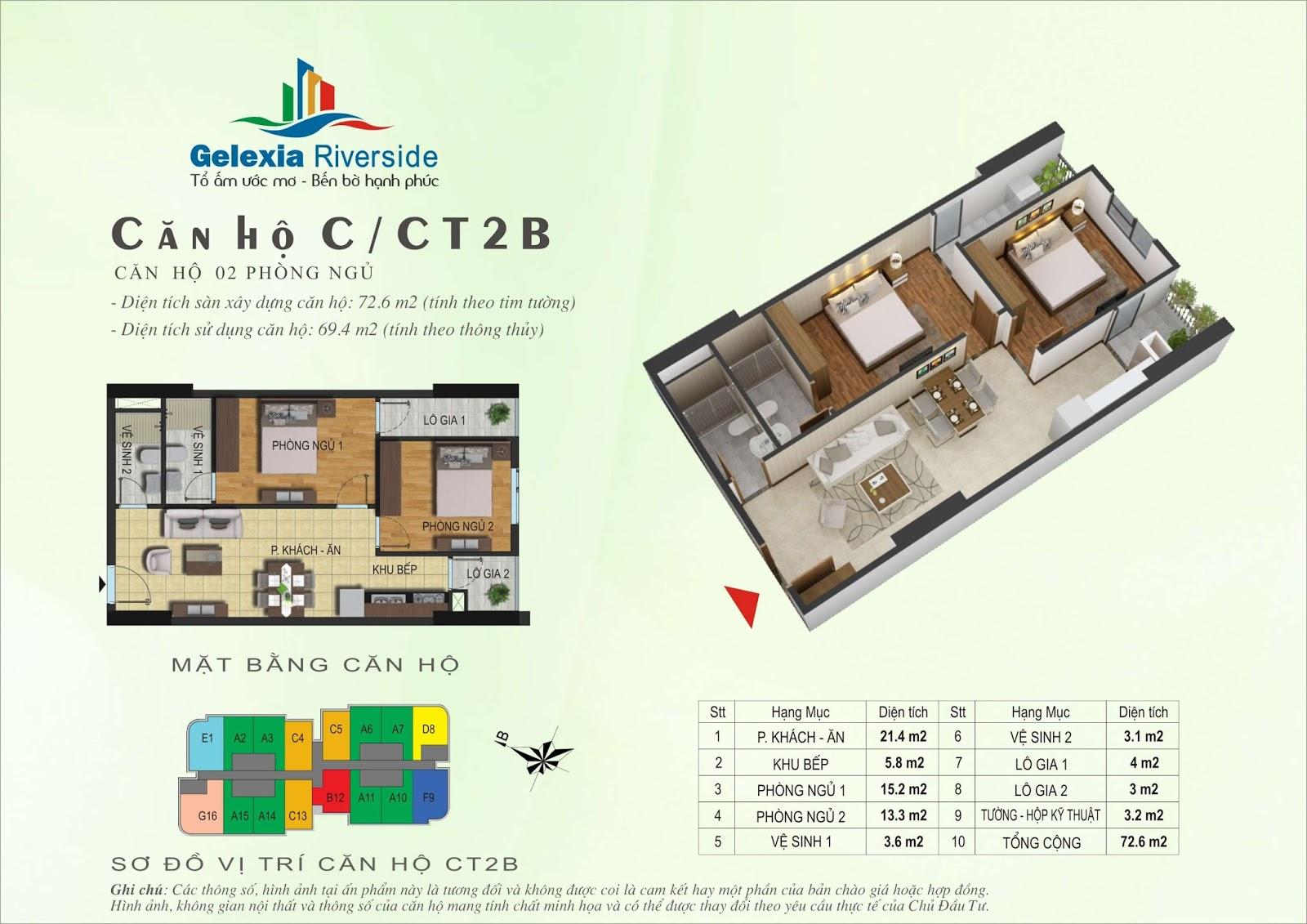 Mặt bằng căn hộ 72,6 m2 tòa CT2B - Gelexia Riverside