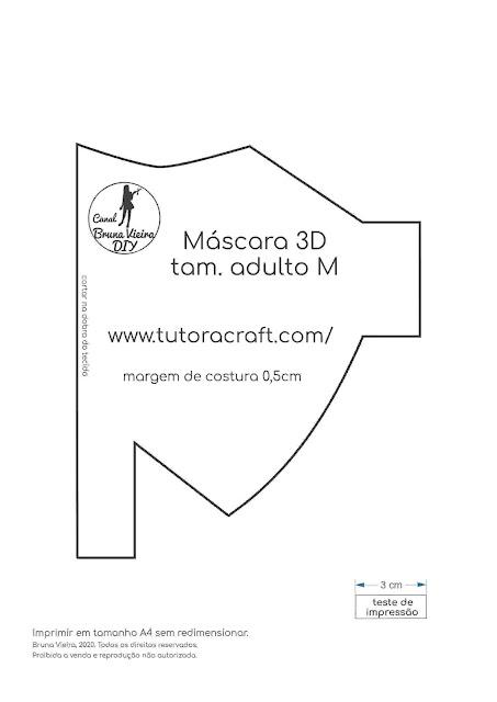 Novo modelo de máscara 3D adulto medio com molde gratuito