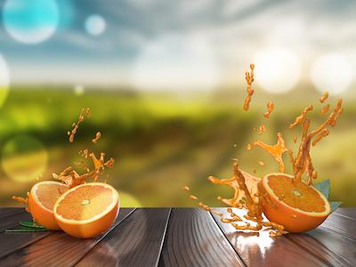 3D Oranges with splashes background
