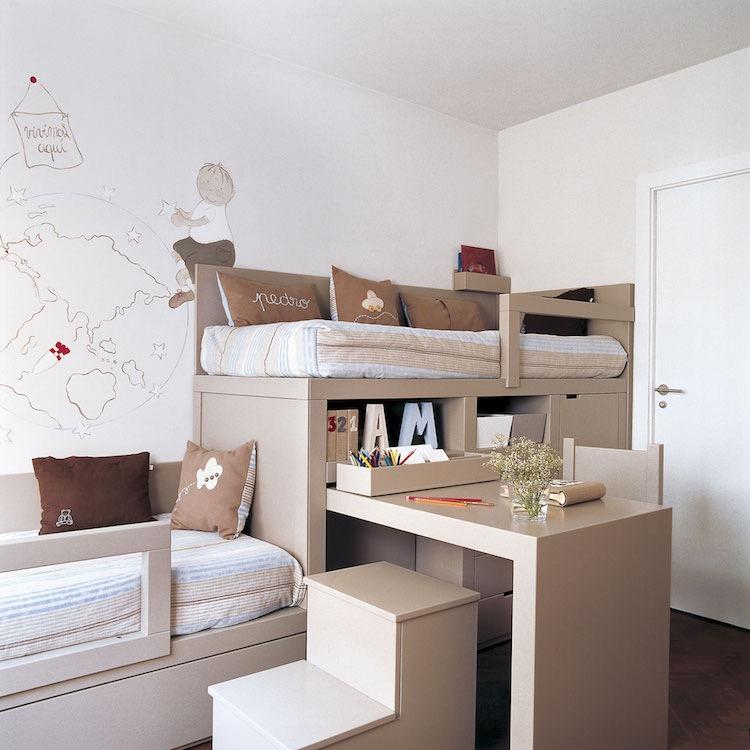 dormitorio con literas y escritorio integrado