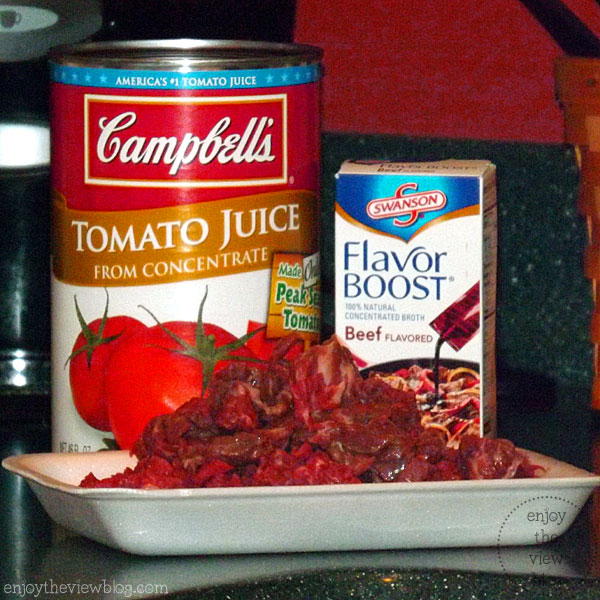 beef, tomato juice, and beef flavor boost