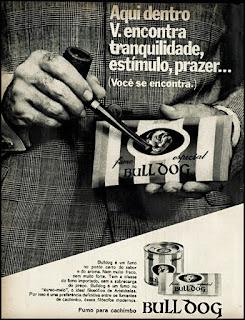 Propaganda fumo para cachimbo Buldog, anúncio cigarros anos 70, cigarros década de 70, Oswaldo Hernandez, fumo buldog,