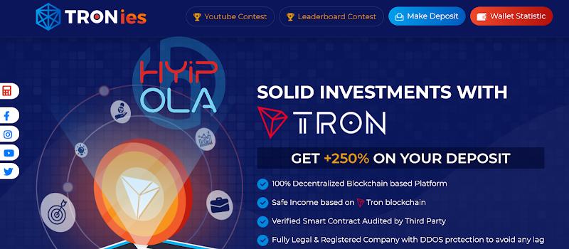 [SCAM] Review Tronies - Dự án Smart Contract gia tăng tự động TRX up 4.5% hằng ngày - Thanh toán tức thì