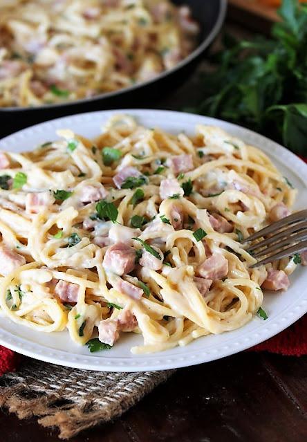 Plate of Creamy Ham & Cheese Spaghetti Image