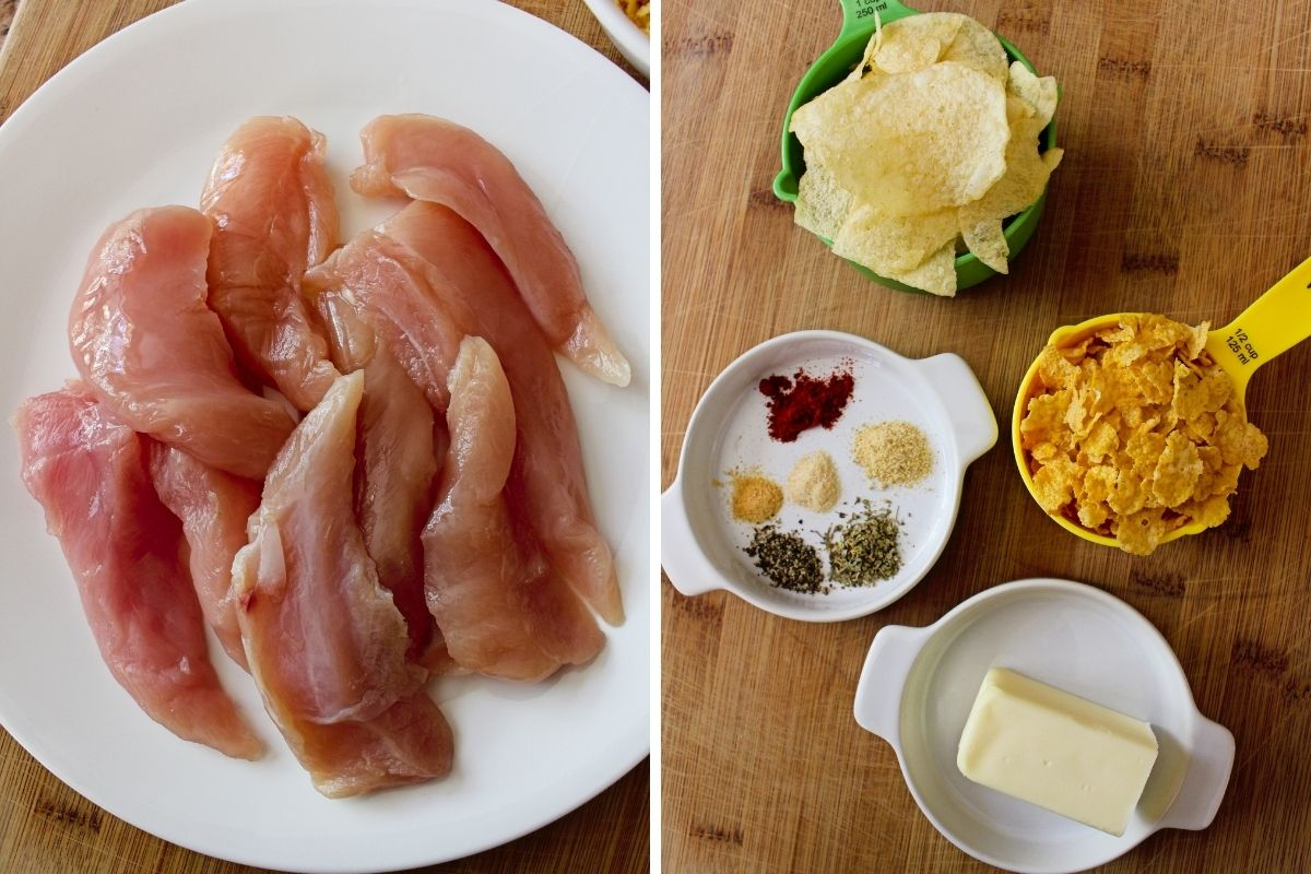 A collage of Potato Chip Chicken Tender ingredients.