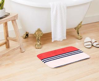 Red, Retro, Striped, Bath Mat,