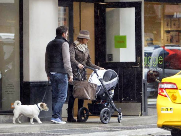 Princess Madeleine shops for her newborn daughter Leonore with dog Zorro