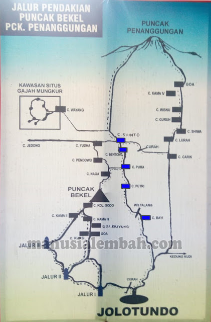 Peta Pendakian Gunung Penanggungan via Jolotundo