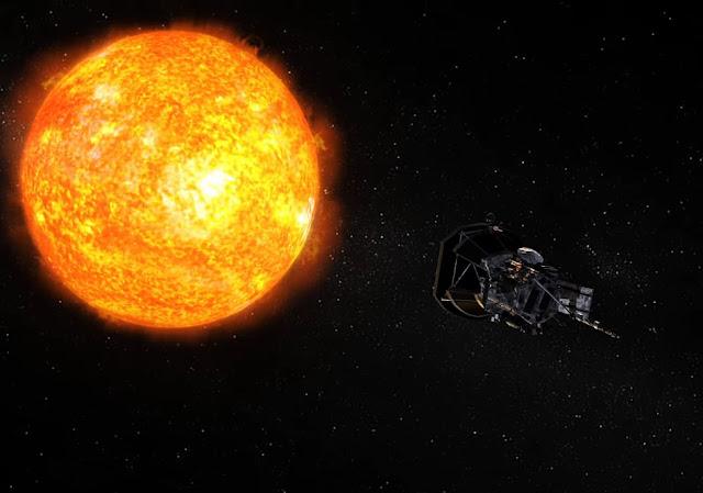 Ilustração artística da sonda Parker Solar Probe durante máxima aproximação com o So