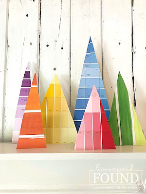 paper crafts,paper,crafting,dollar store crafts,Christmas,Christmas Decor,Christmas tree,color,colorful home,DIY,diy decorating,decorating,gift wrapping,re-purposing,up-cycling,winter,holiday,paper Christmas trees,mantel decor,Christmas trees on mantel,gift wrap crafts, paint chips,paint chip crafts,diy Christmas decor,Christmas mantel,holiday mantel,holiday decorating,holiday decor,colorful Christmas,Dollar Tree