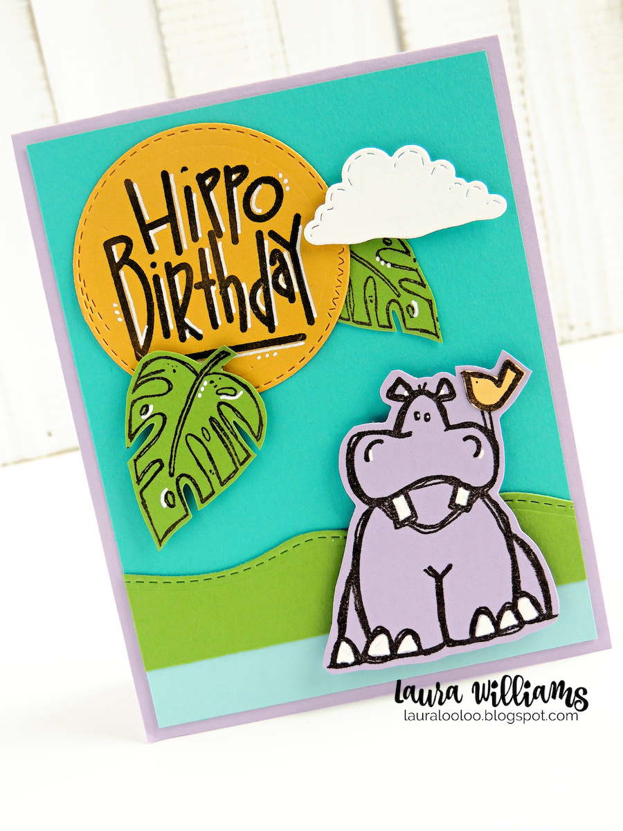 The Hippo Birthday stamps from Impression Obsession are just darling for handmade cards - how cute is that purple hippo? I stamped this guy, and just paper-pieced the little bird, and added white gel pen for a few details. These chunky shapes are pretty easy to fussy cut, and I like the contrast of the hippo and jungle leaves paired with some simple die cut details.