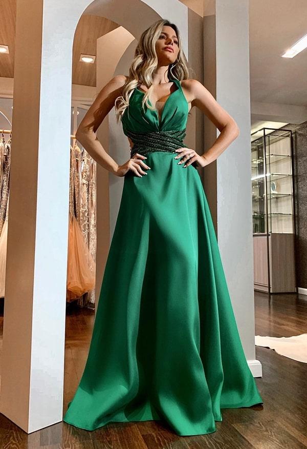 vestido de festa longo verde esmeralda para madrinha de casamento ou formanda