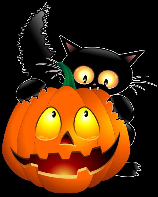 calabazacon gato negro Tubes, imagenes png grandes