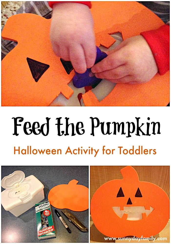 Feed the Pumpkin Halloween activity for toddlers!