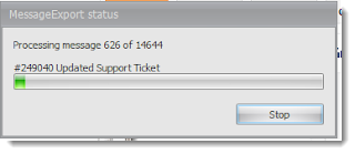 Status bar shows the progress while export Outlook emails into .eml files.