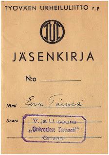 V. ja U. -seura Oriveden Tovereiden (TUL) jäsenkirjan kansilehti.