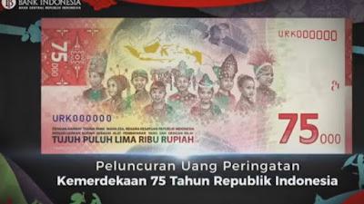 Peringati 75 Tahun Kemerdekaan RI, BI dan Kemenkeu Rilis Uang Edisi Khusus