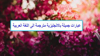 عبارات جميلة بالانجليزية مترجمة الى اللغة العربية