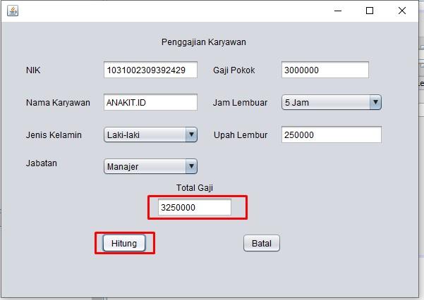 contoh program penggajian karyawan di java netbeans dengan layout jframe