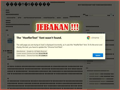 Tampilan Jebakan Penyebaran Malware di Browser Chrome