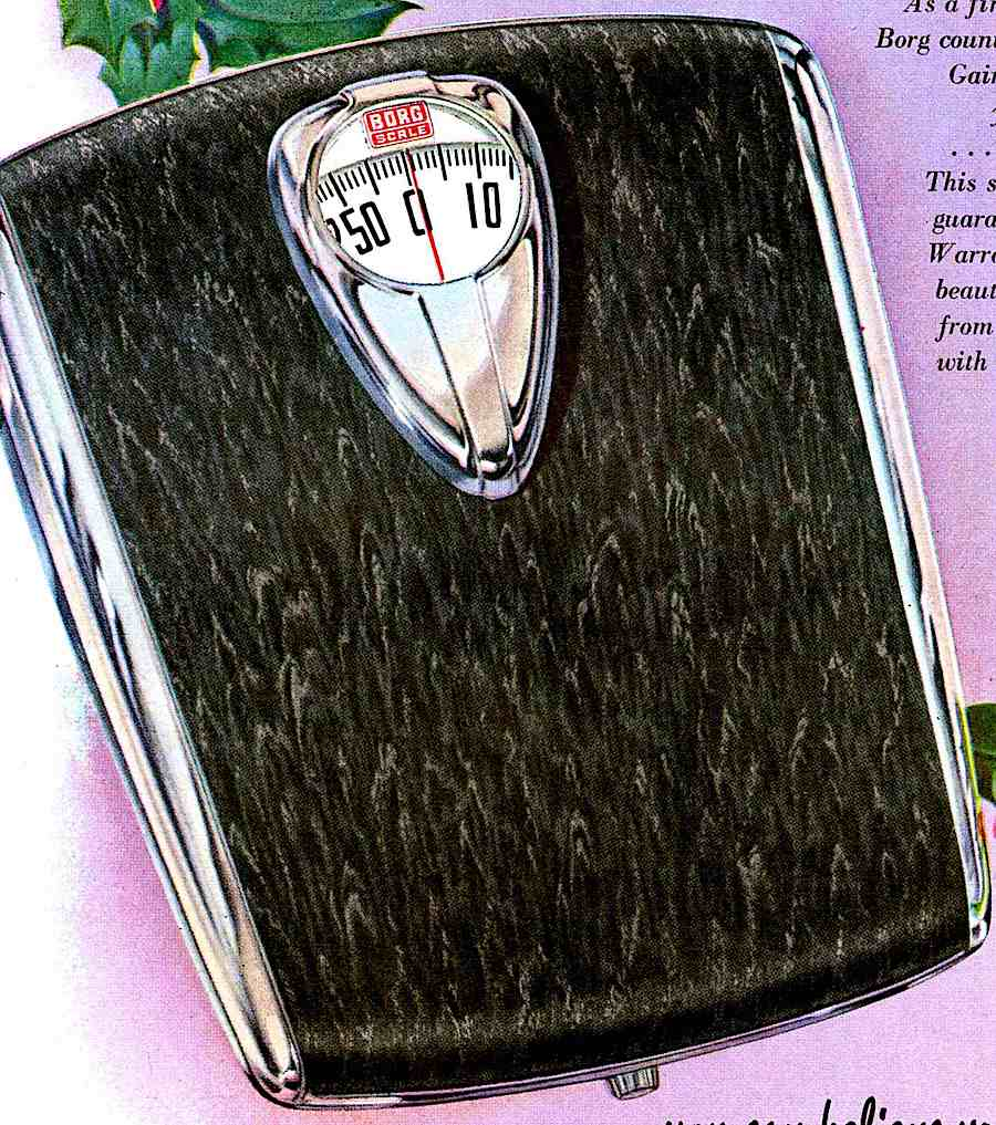 a black 1953 Borg bathroom weight scale in a color advertisement