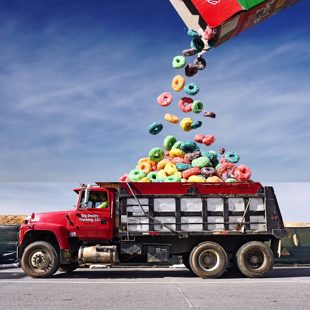 02-Fruit-Loops-Dump-Truck-Stephen-Mcmennamy-Mash-up-Photographs-with-Combophotos-www-designstack-co
