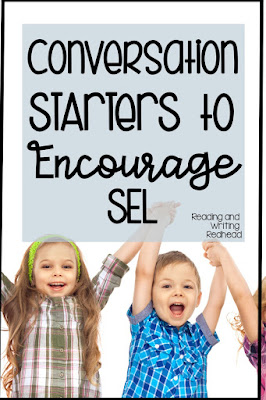 """Students cheering on white background and label that says """"Conversation Starters for Building Social Emotional Skills"""""""