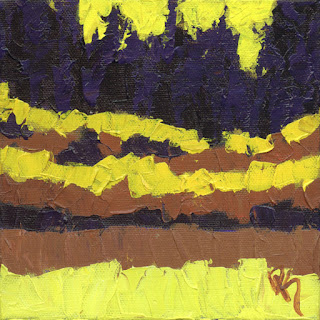painting art landscape knife yellow marsh abstract